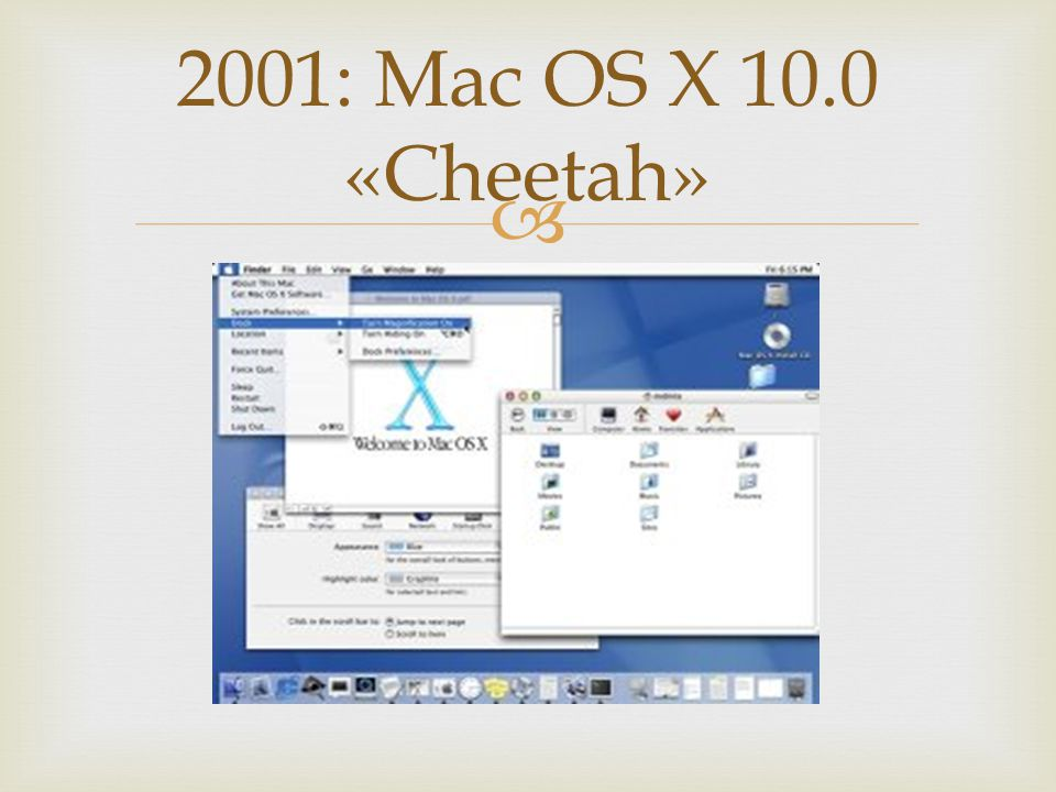 2001: Mac OS X 10.0 «Cheetah»