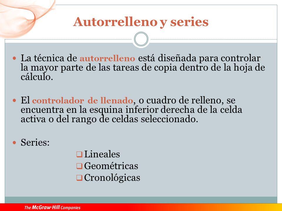 Autorrelleno y series La técnica de autorrelleno está diseñada para controlar la mayor parte de las tareas de copia dentro de la hoja de cálculo.