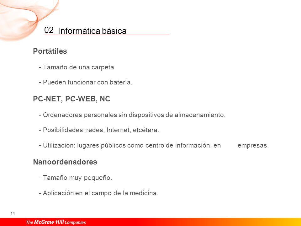 02 Portátiles PC-NET, PC-WEB, NC Nanoordenadores