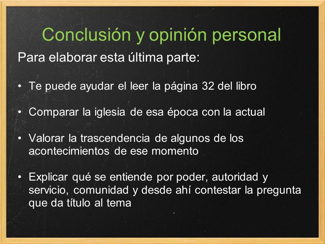 Conclusión y opinión personal