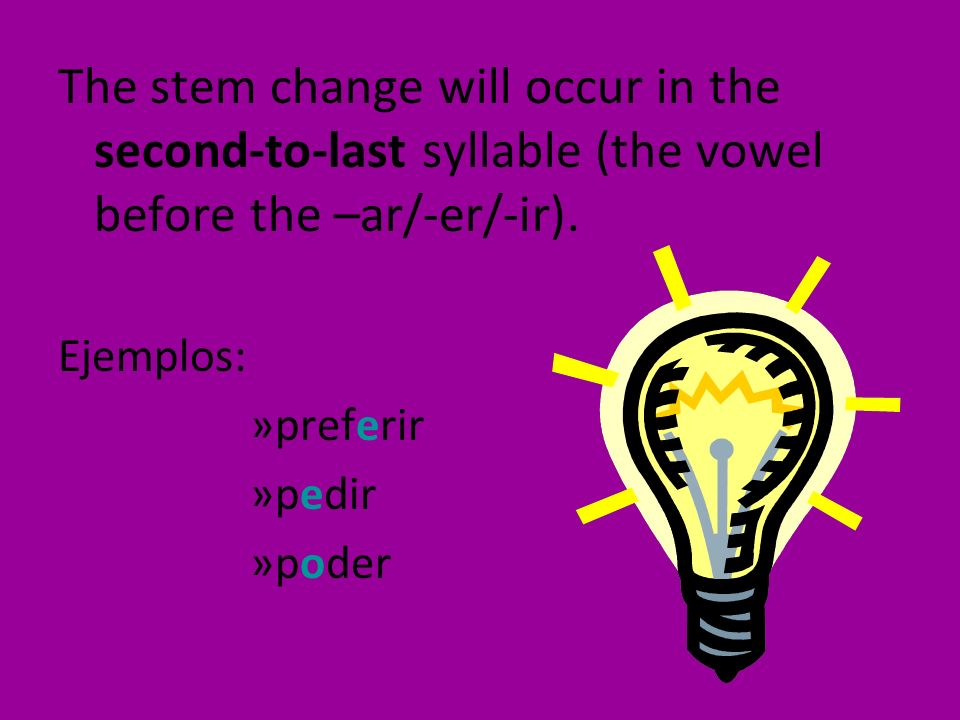 The stem change will occur in the second-to-last syllable (the vowel before the –ar/-er/-ir).
