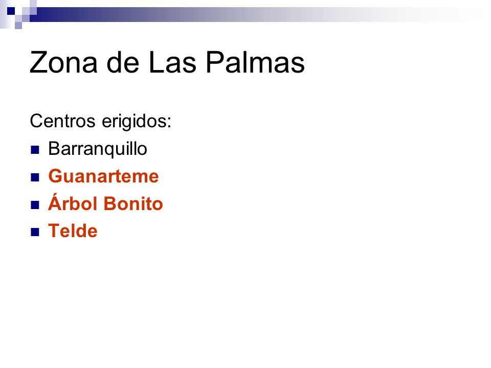 Zona de Las Palmas Centros erigidos: Barranquillo Guanarteme