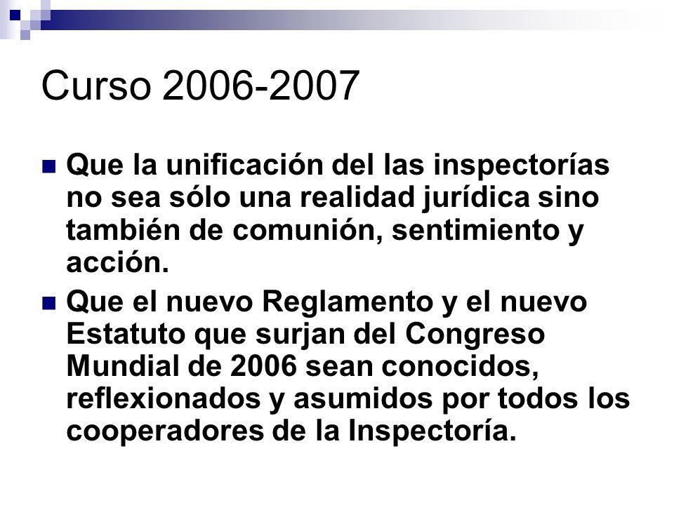 Curso 2006-2007 Que la unificación del las inspectorías no sea sólo una realidad jurídica sino también de comunión, sentimiento y acción.