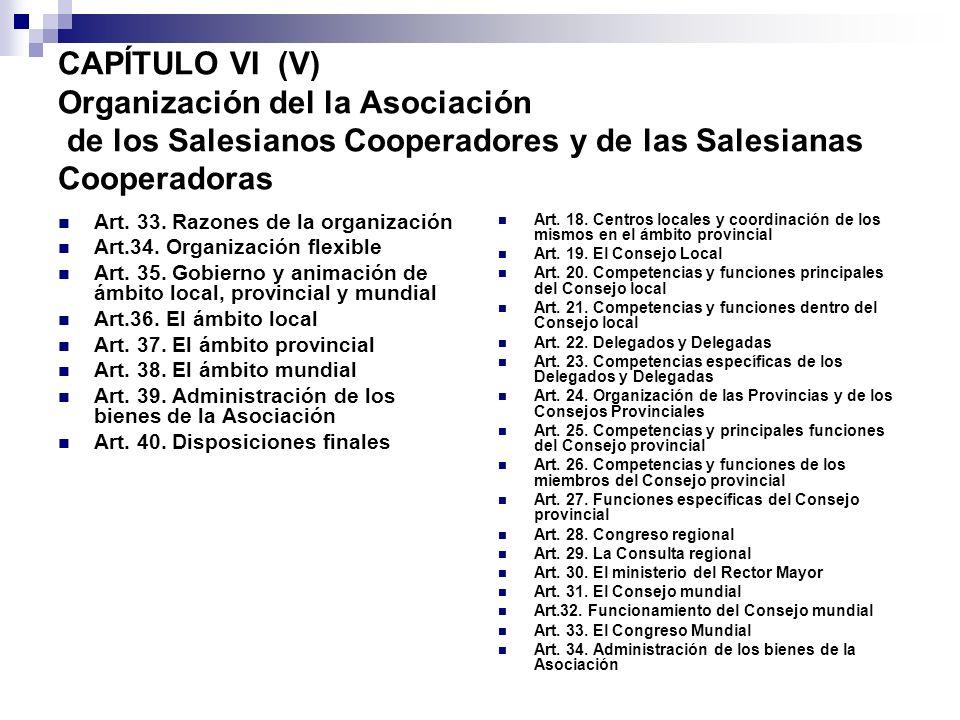 CAPÍTULO VI (V) Organización del la Asociación de los Salesianos Cooperadores y de las Salesianas Cooperadoras