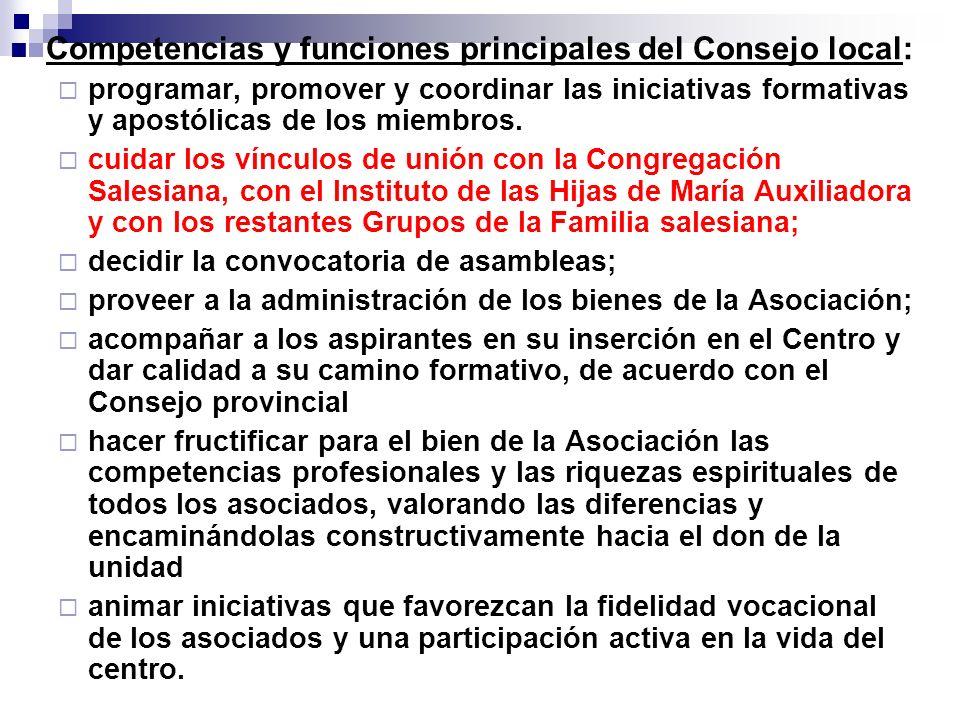 Competencias y funciones principales del Consejo local: