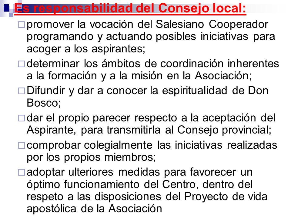 Es responsabilidad del Consejo local: