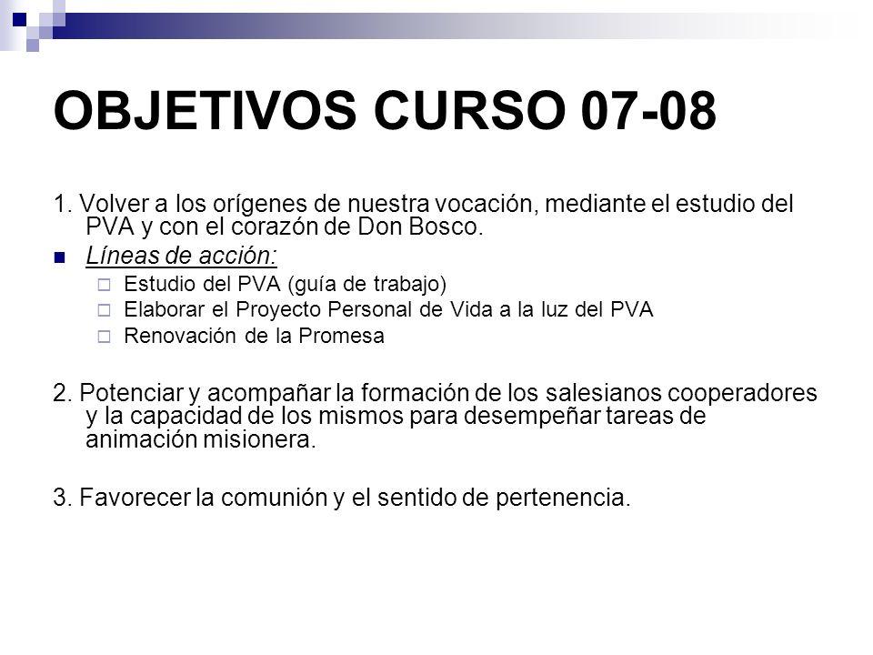 OBJETIVOS CURSO 07-08 1. Volver a los orígenes de nuestra vocación, mediante el estudio del PVA y con el corazón de Don Bosco.