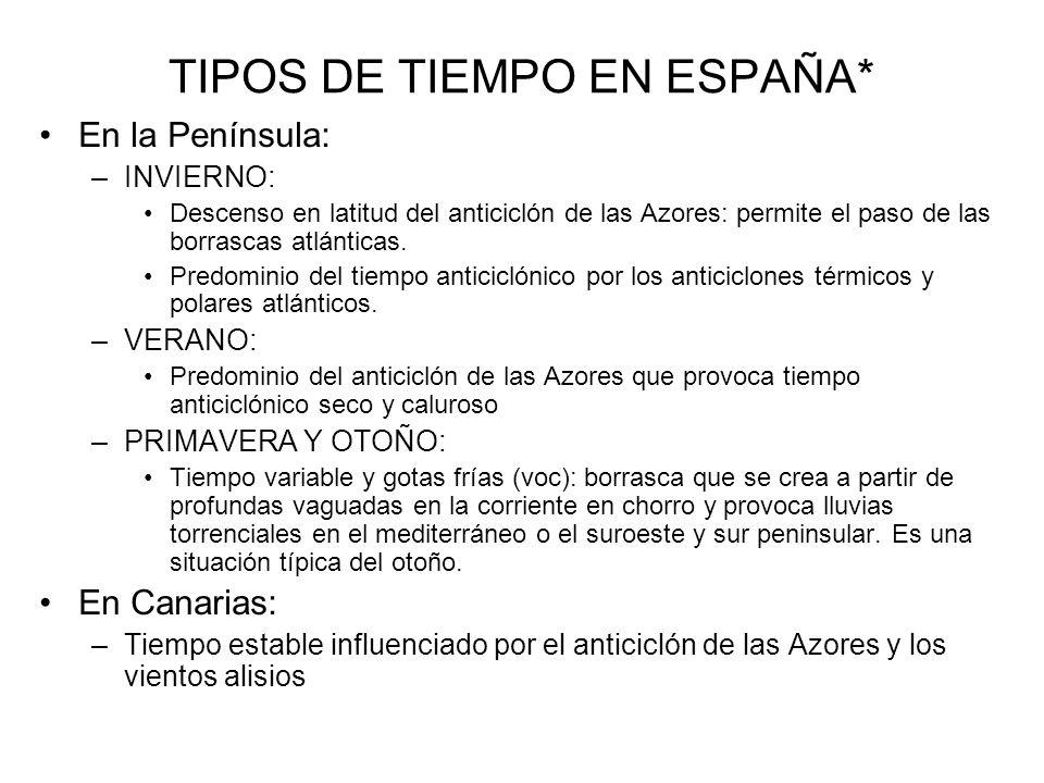 TIPOS DE TIEMPO EN ESPAÑA*