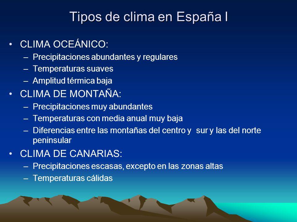 Tipos de clima en España I