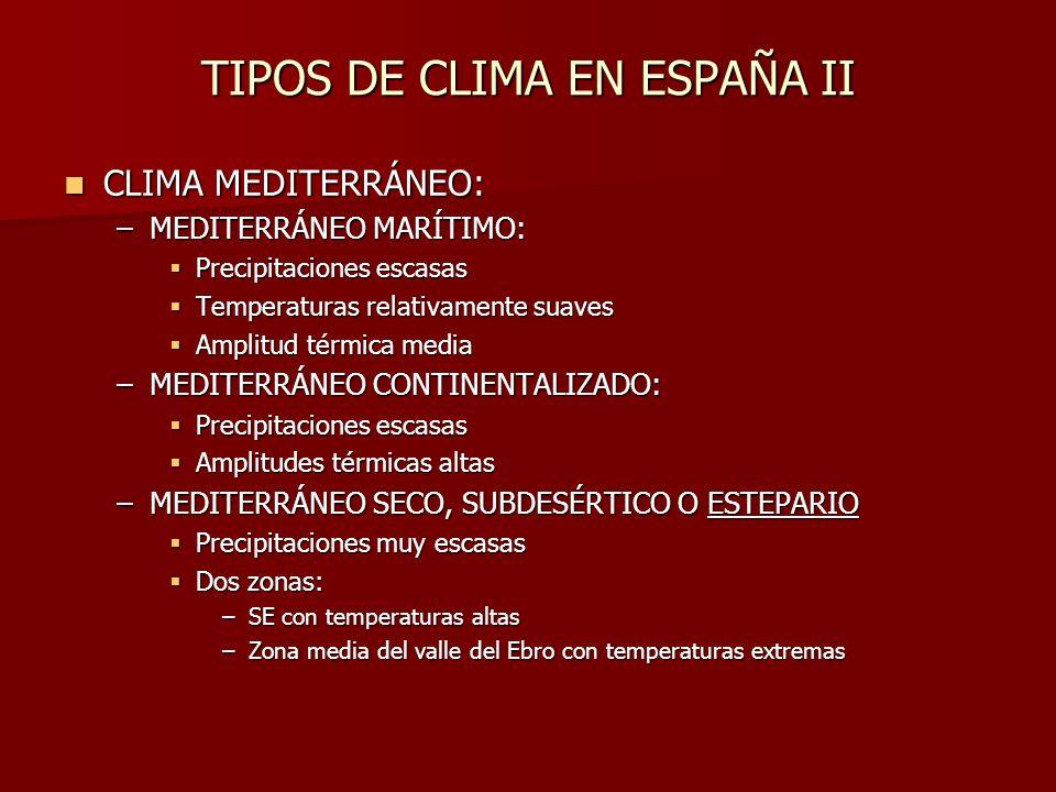 TIPOS DE CLIMA EN ESPAÑA II