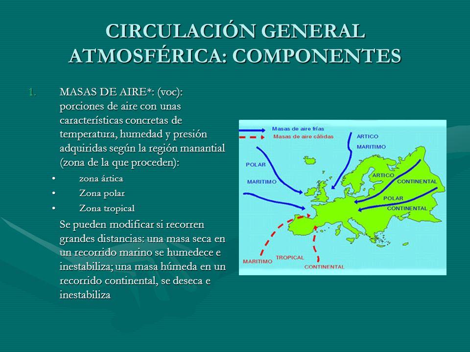 CIRCULACIÓN GENERAL ATMOSFÉRICA: COMPONENTES