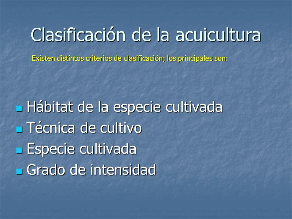 Clasificación de la acuicultura