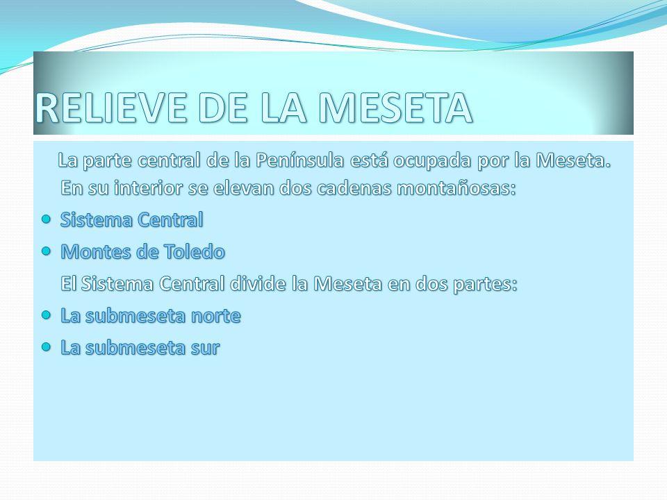 RELIEVE DE LA MESETALa parte central de la Península está ocupada por la Meseta. En su interior se elevan dos cadenas montañosas: