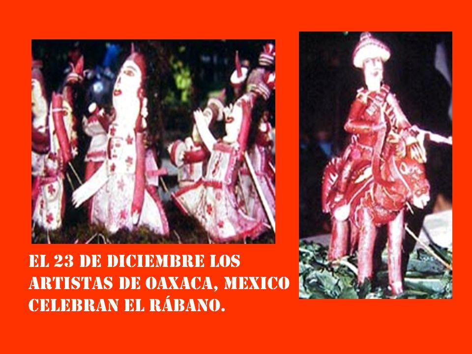 El 23 de dIciembre los artistas de oaxaca, mexico celebran el rábano.