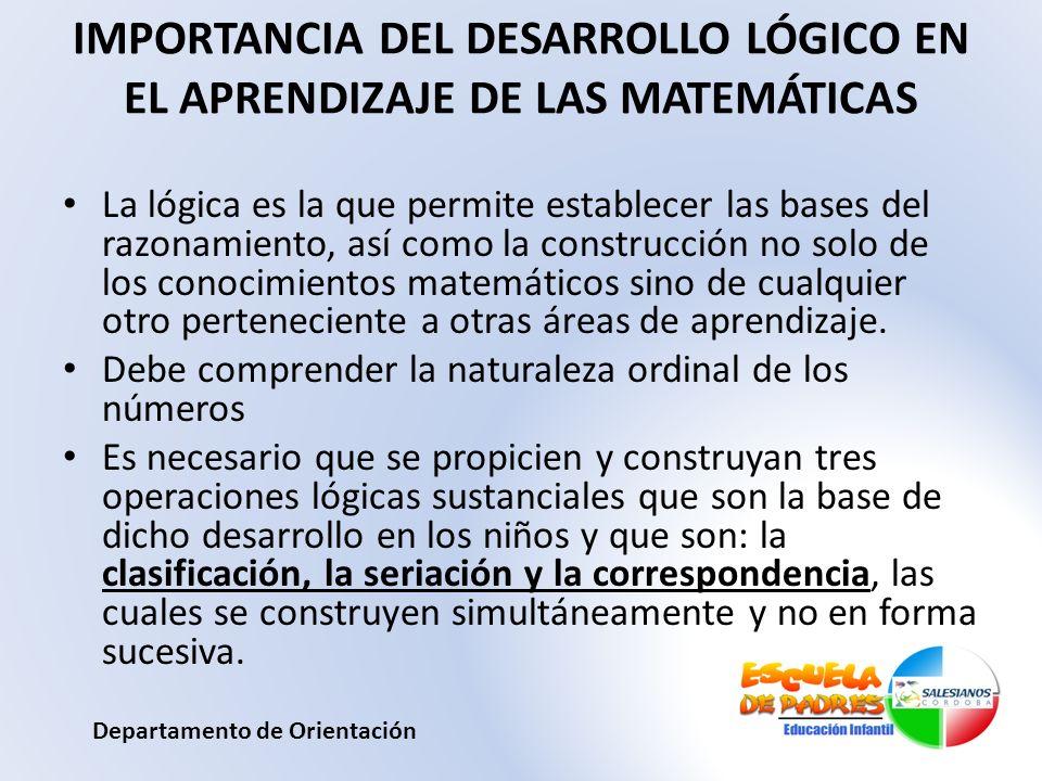 IMPORTANCIA DEL DESARROLLO LÓGICO EN EL APRENDIZAJE DE LAS MATEMÁTICAS