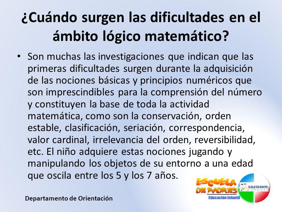¿Cuándo surgen las dificultades en el ámbito lógico matemático