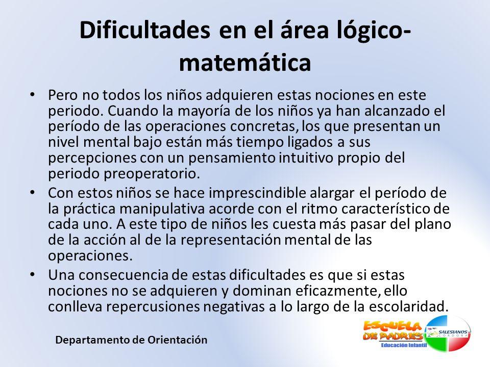 Dificultades en el área lógico-matemática