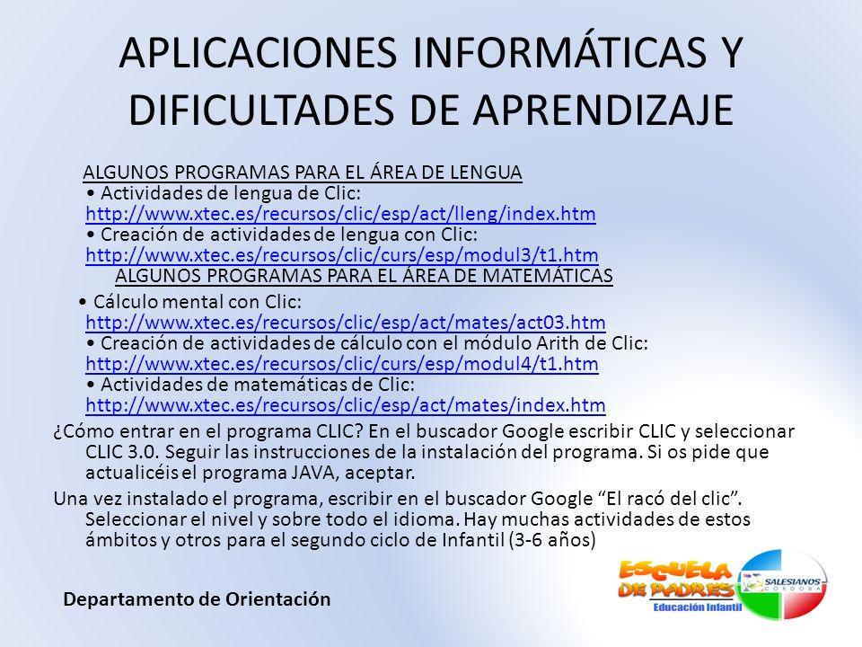 APLICACIONES INFORMÁTICAS Y DIFICULTADES DE APRENDIZAJE