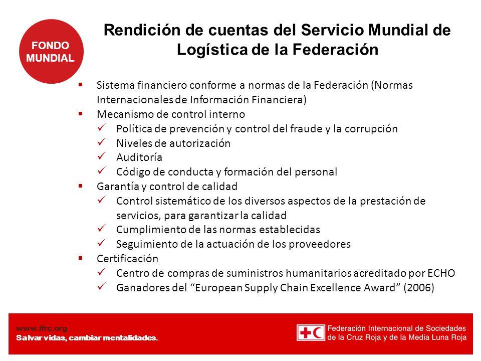 Rendición de cuentas del Servicio Mundial de Logística de la Federación