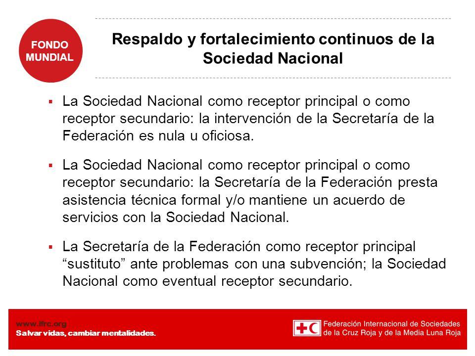 Respaldo y fortalecimiento continuos de la Sociedad Nacional