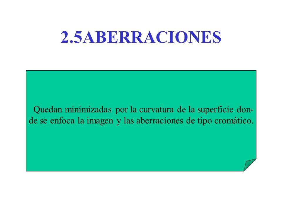 2.5ABERRACIONES Quedan minimizadas por la curvatura de la superficie don- de se enfoca la imagen y las aberraciones de tipo cromático.