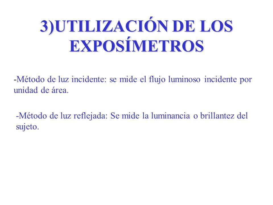 3)UTILIZACIÓN DE LOS EXPOSÍMETROS