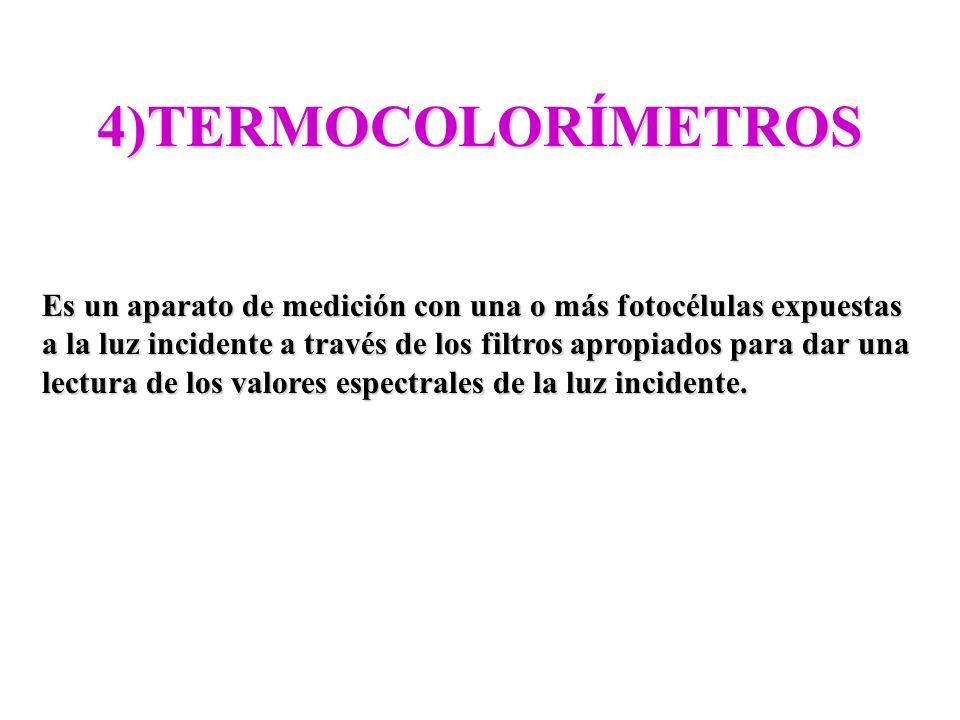 4)TERMOCOLORÍMETROS Es un aparato de medición con una o más fotocélulas expuestas.