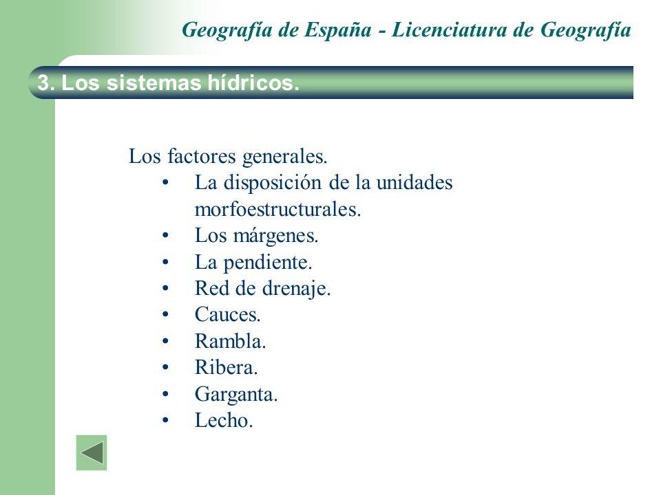 3. Los sistemas hídricos.Los factores generales. La disposición de la unidades morfoestructurales. Los márgenes.