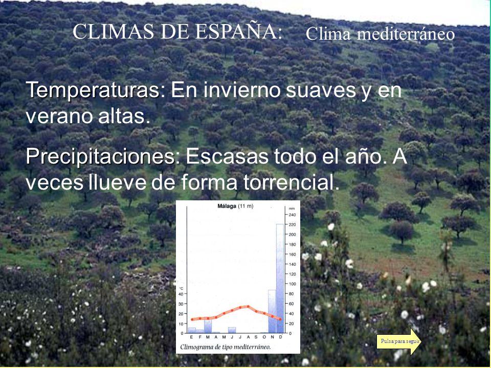 Temperaturas: En invierno suaves y en verano altas.