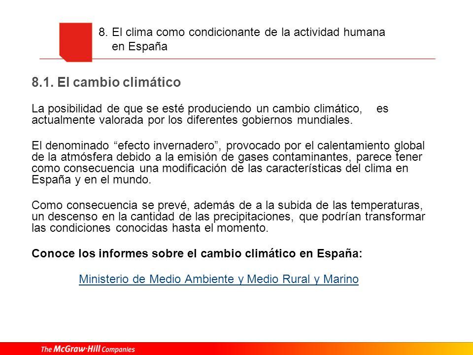 8. El clima como condicionante de la actividad humana en España