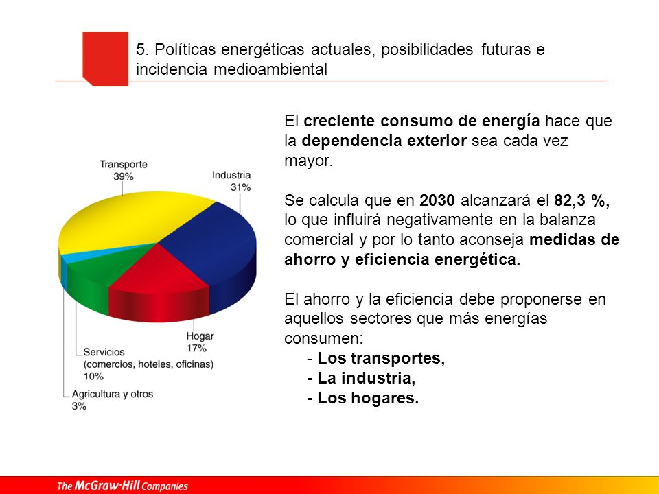5. Políticas energéticas actuales, posibilidades futuras e incidencia medioambiental