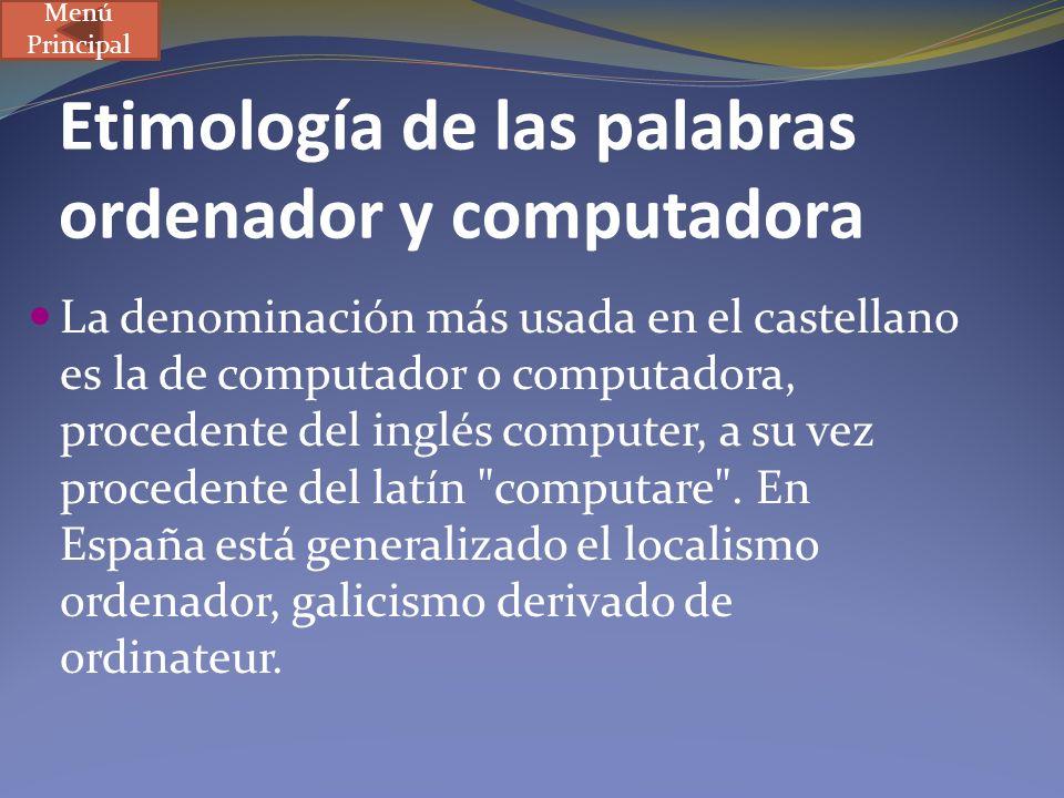 Etimología de las palabras ordenador y computadora