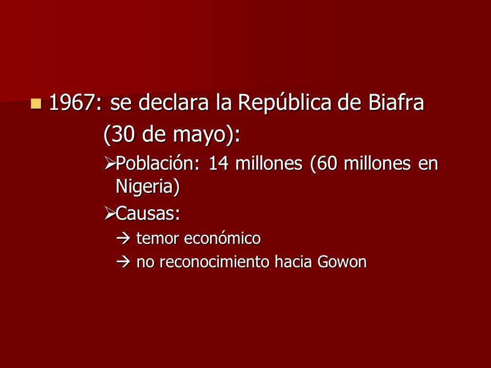 1967: se declara la República de Biafra (30 de mayo):