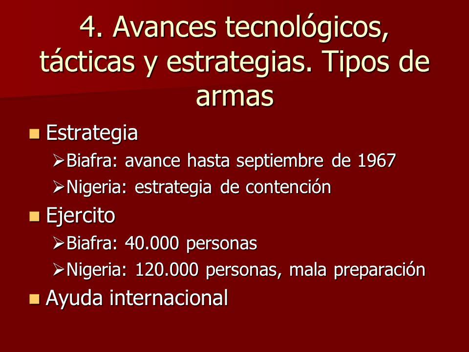 4. Avances tecnológicos, tácticas y estrategias. Tipos de armas