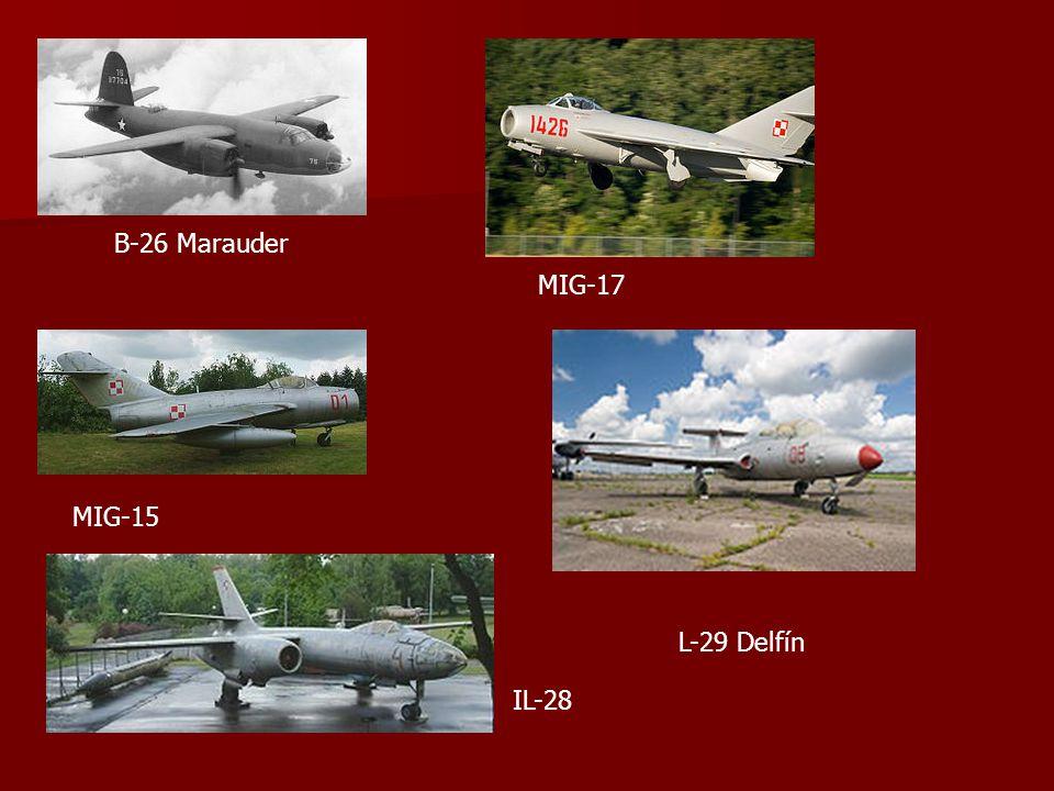 B-26 Marauder MIG-17 MIG-15 L-29 Delfín IL-28