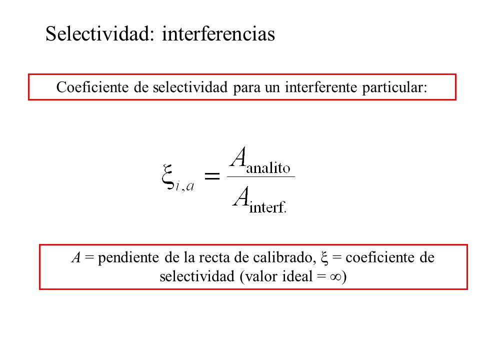 Selectividad: interferencias