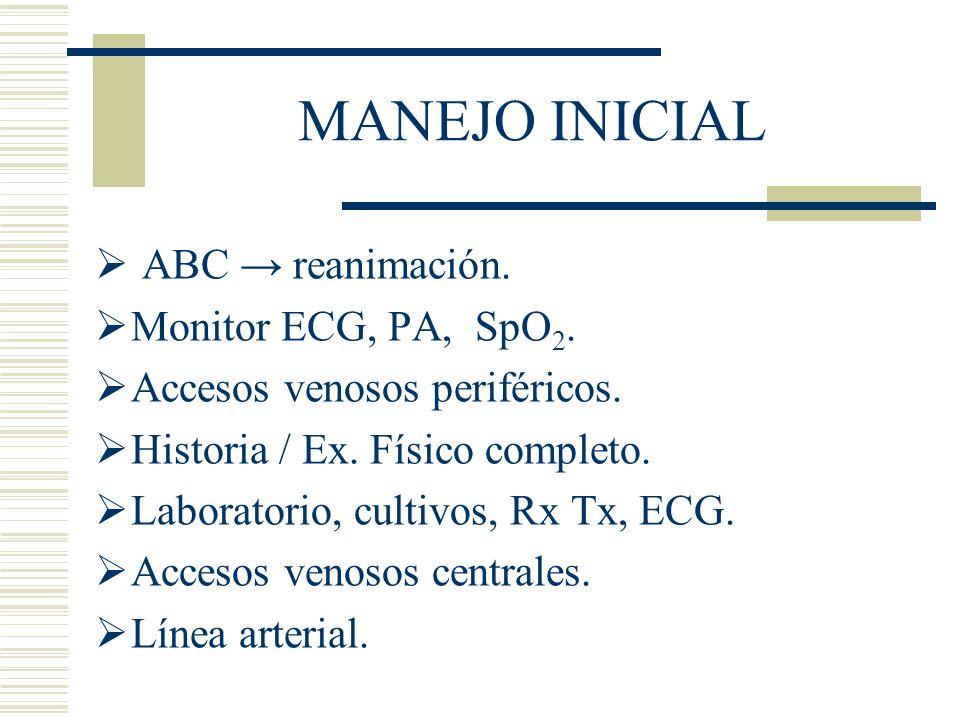 MANEJO INICIAL ABC → reanimación. Monitor ECG, PA, SpO2.