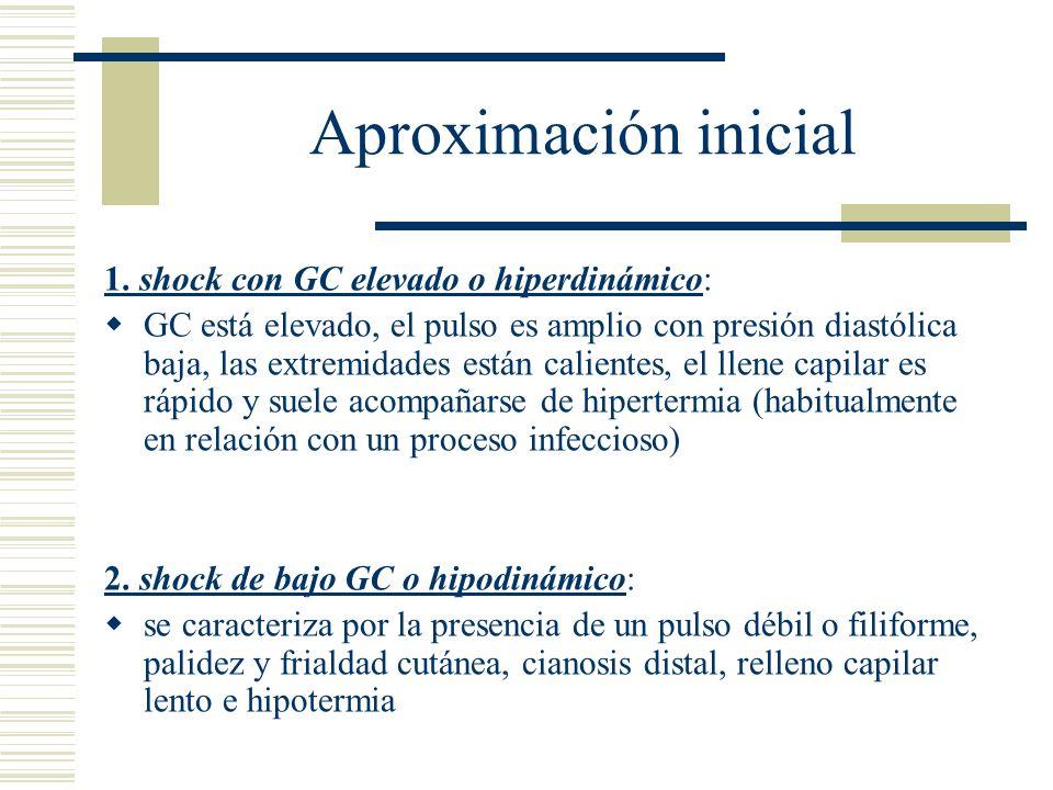 Aproximación inicial 1. shock con GC elevado o hiperdinámico: