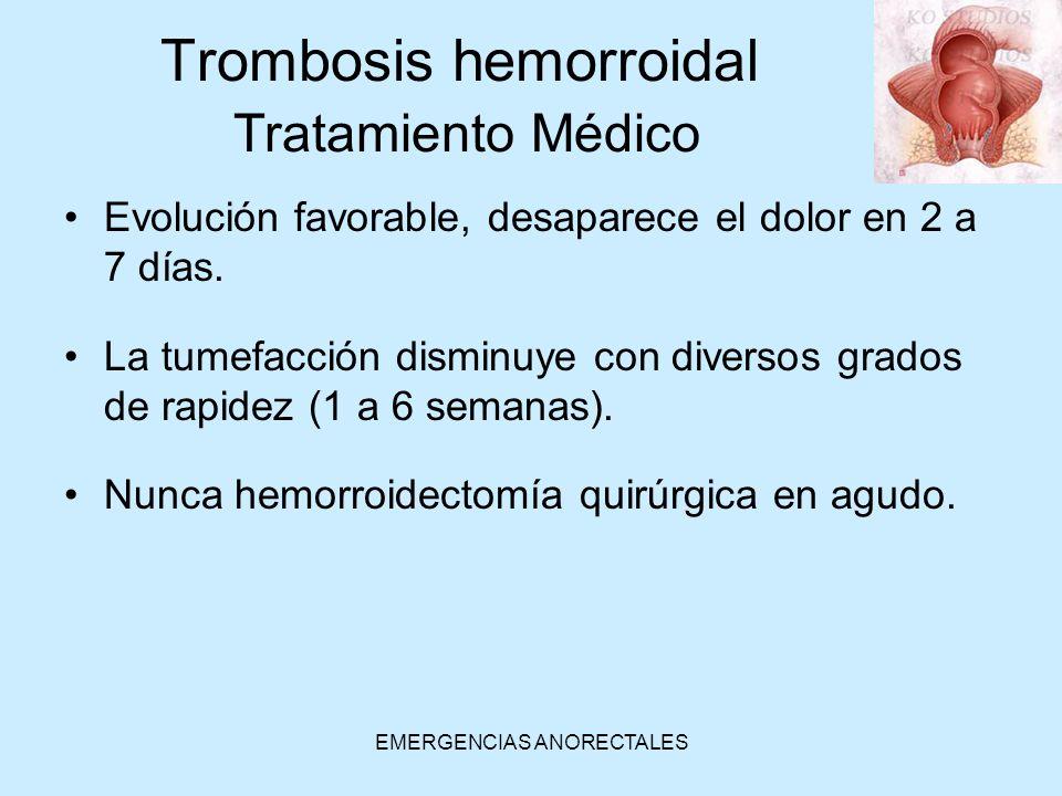 Trombosis hemorroidal Tratamiento Médico