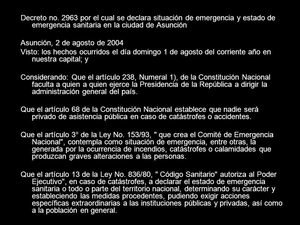 Decreto no. 2963 por el cual se declara situación de emergencia y estado de emergencia sanitaria en la ciudad de Asunción