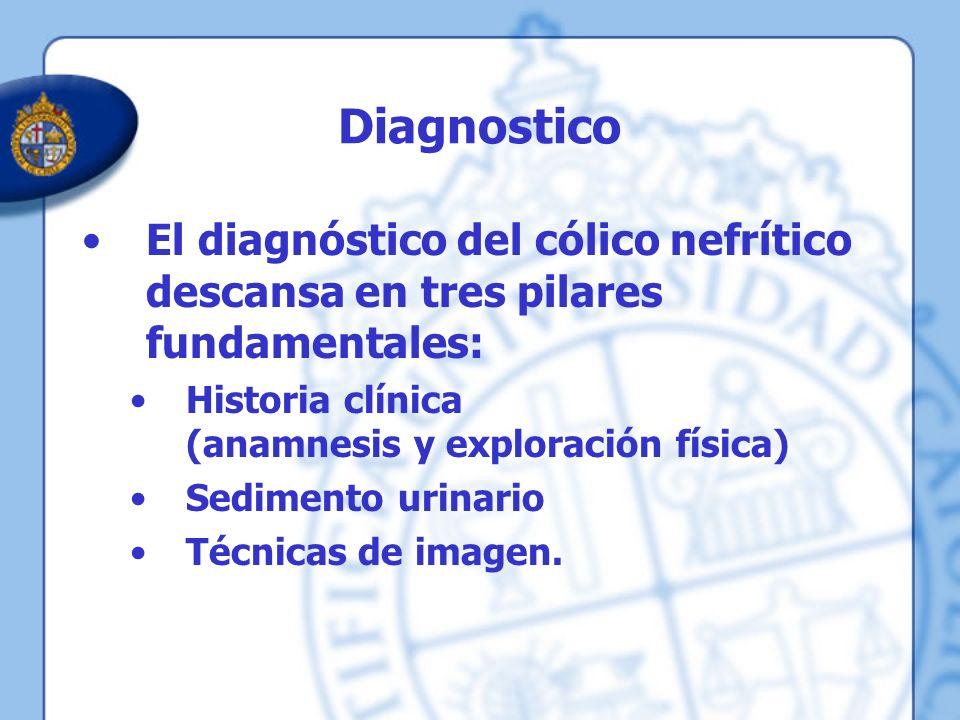 Diagnostico El diagnóstico del cólico nefrítico descansa en tres pilares fundamentales: Historia clínica (anamnesis y exploración física)