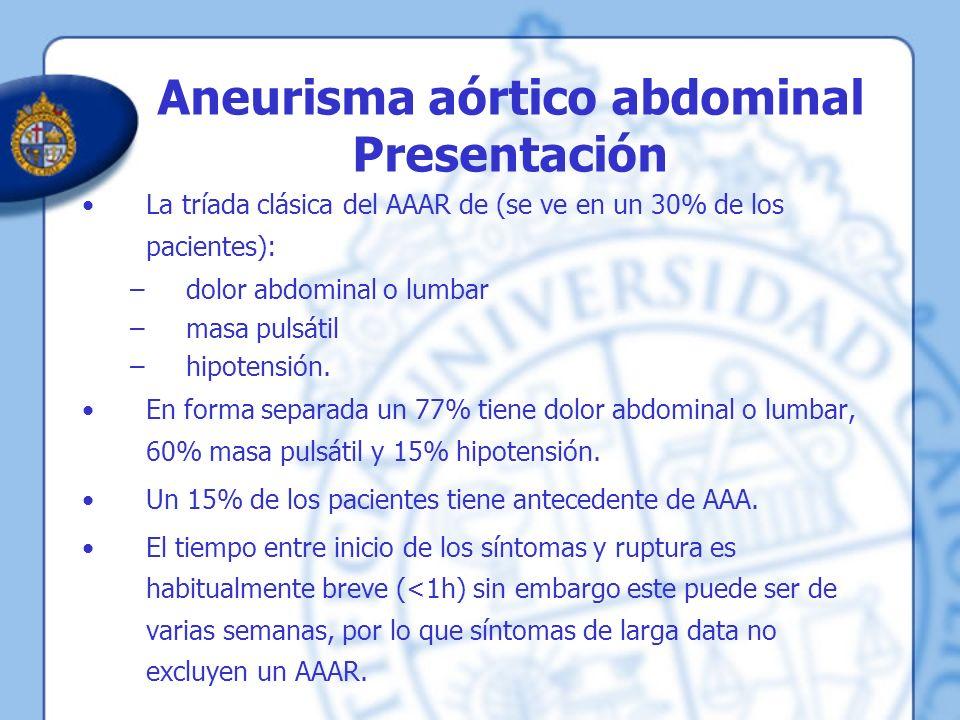 Aneurisma aórtico abdominal Presentación
