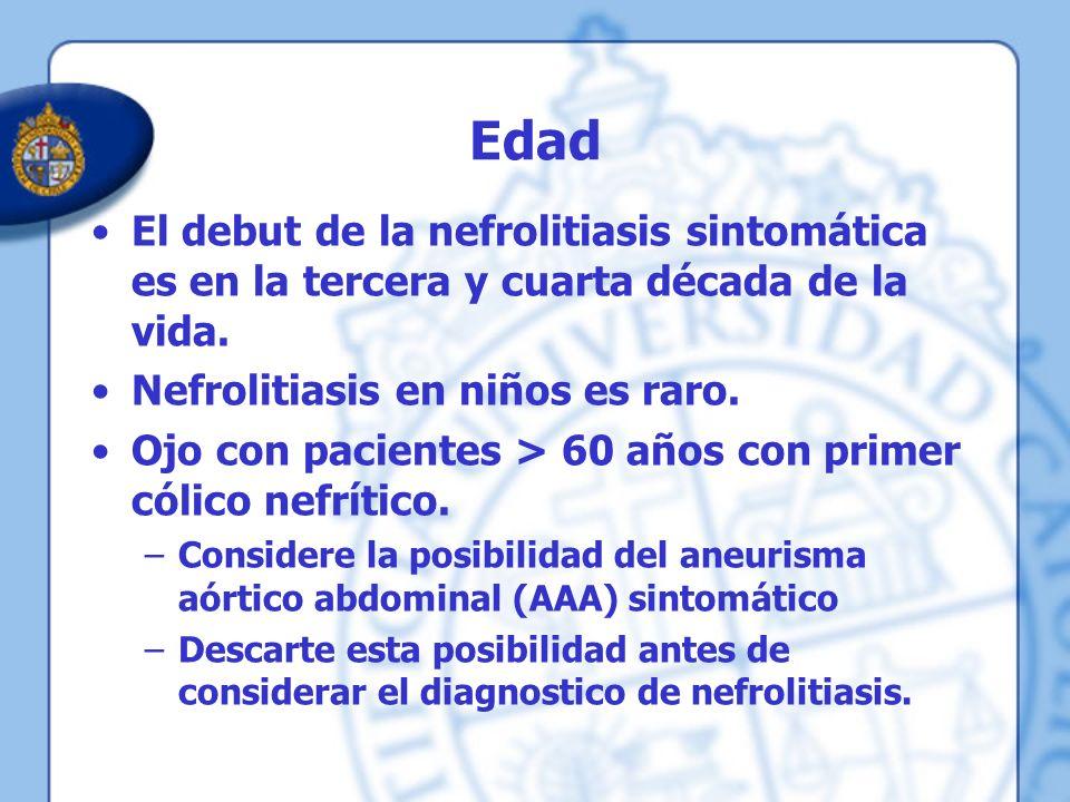 Edad El debut de la nefrolitiasis sintomática es en la tercera y cuarta década de la vida. Nefrolitiasis en niños es raro.