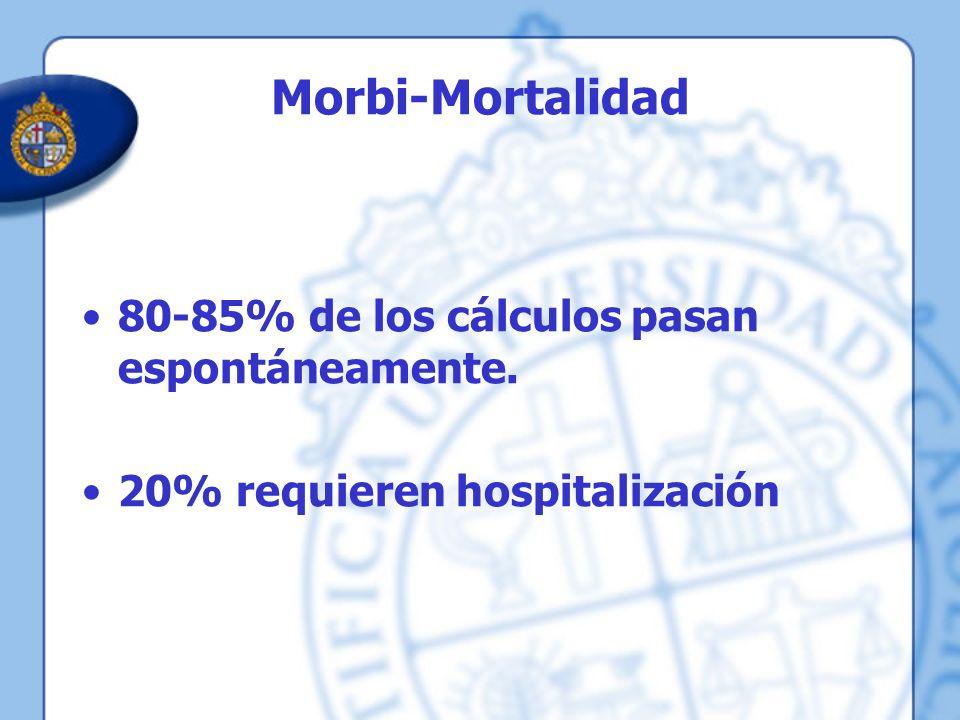 Morbi-Mortalidad 80-85% de los cálculos pasan espontáneamente.