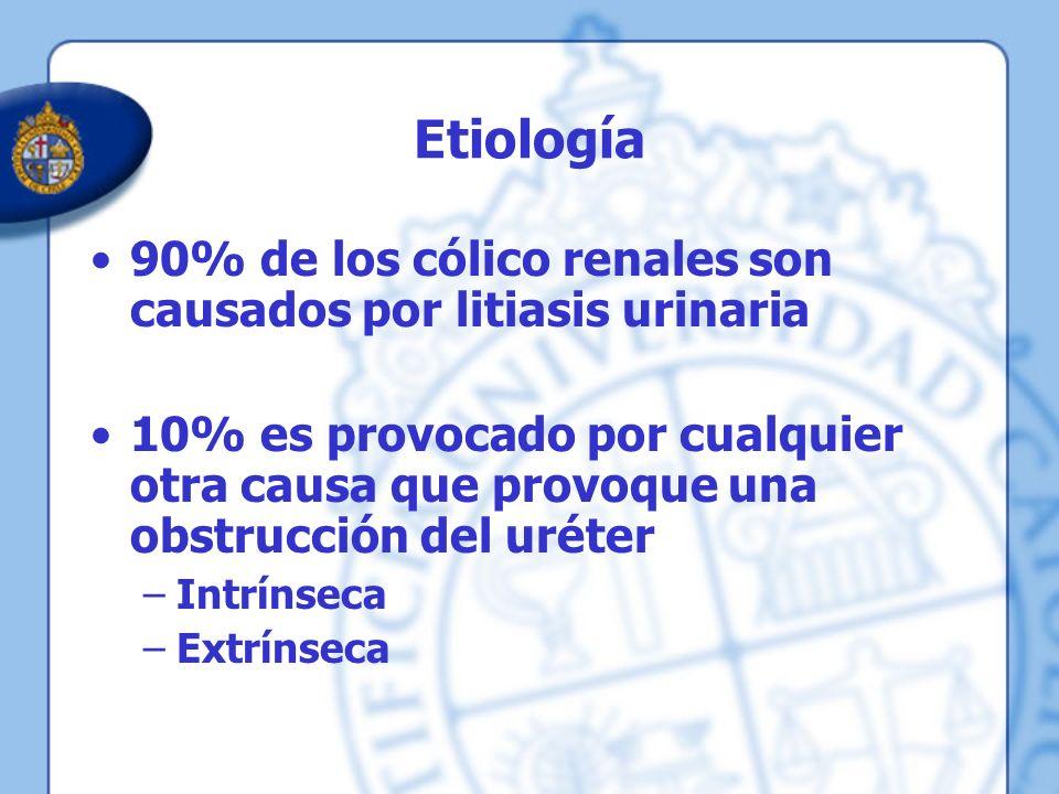 Etiología 90% de los cólico renales son causados por litiasis urinaria