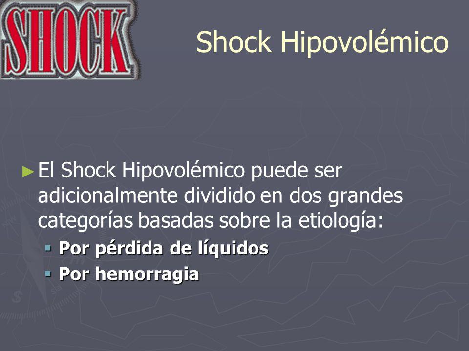 Shock Hipovolémico El Shock Hipovolémico puede ser adicionalmente dividido en dos grandes categorías basadas sobre la etiología: