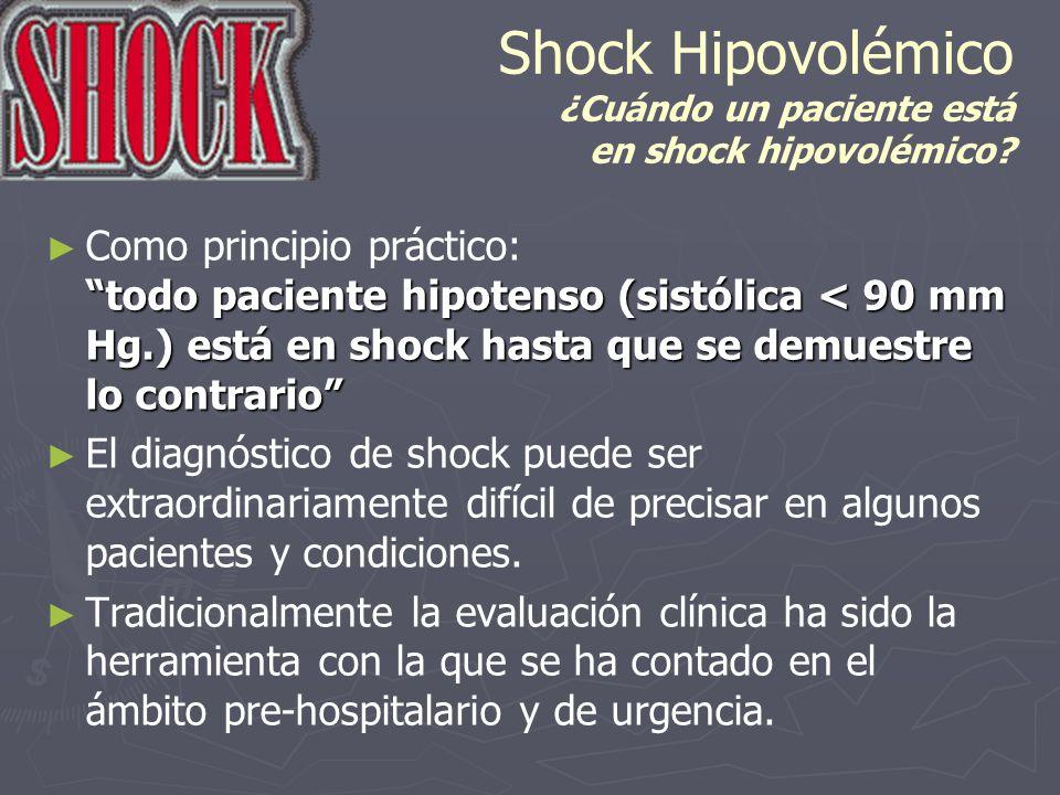 Shock Hipovolémico ¿Cuándo un paciente está en shock hipovolémico