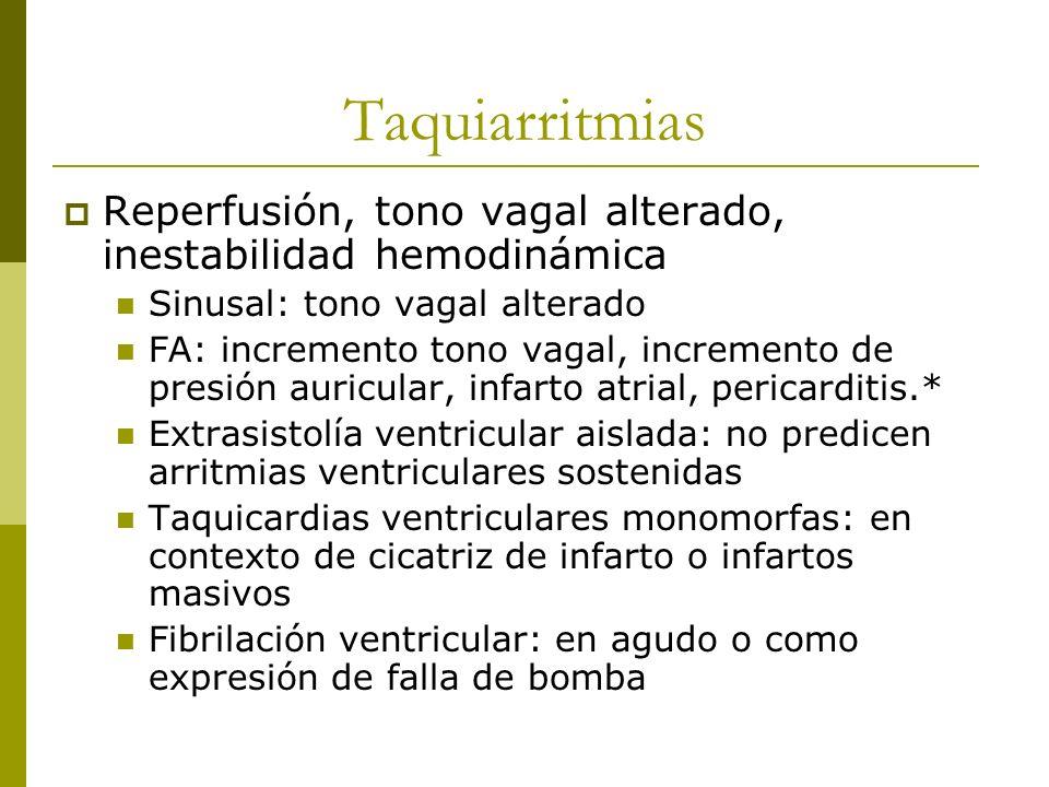 Taquiarritmias Reperfusión, tono vagal alterado, inestabilidad hemodinámica. Sinusal: tono vagal alterado.