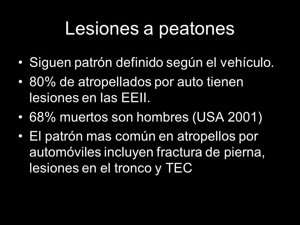 Lesiones a peatones Siguen patrón definido según el vehículo.