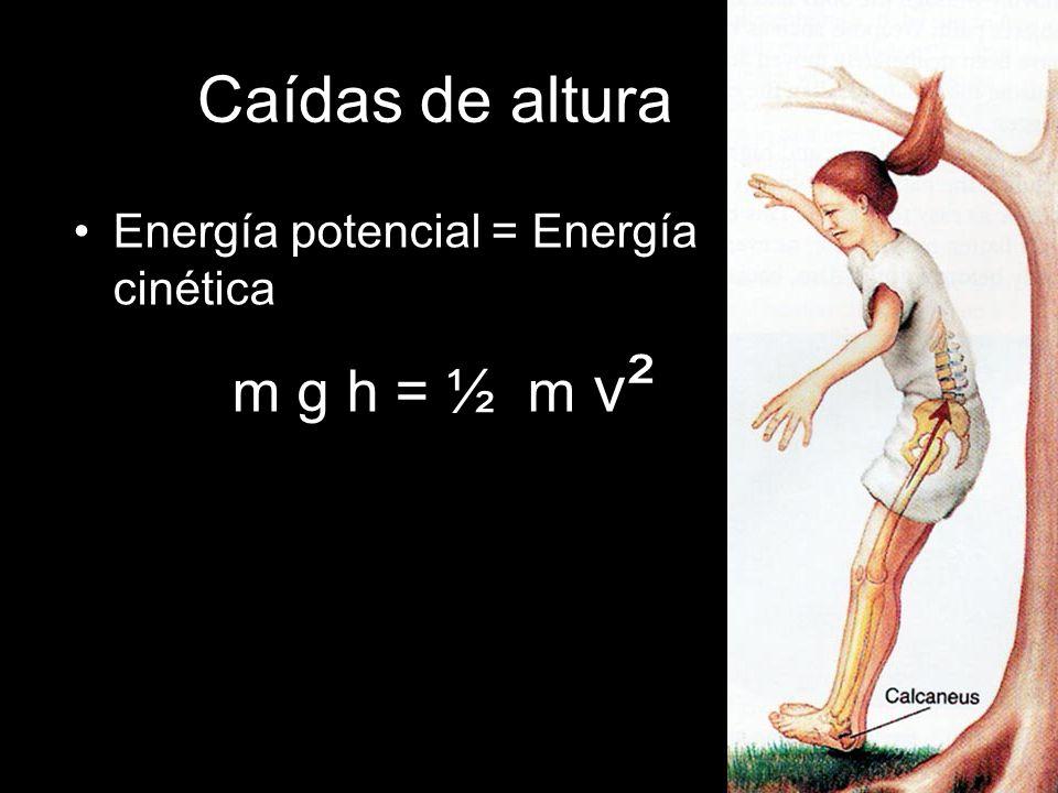 Caídas de altura Energía potencial = Energía cinética m g h = ½ m v²